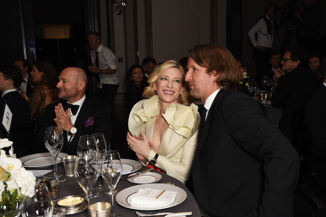 LONDON, ENGLAND - OCTOBER 04: (L to R) IWC CEO Georges Kern, Cate Blanchett and Tom Hooper attend the IWC Schaffhausen Dinner in Honour of the BFI at Rosewood London on October 4, 2016 in London, England. (PPR/IWC/Getty Images/Dave Benett)